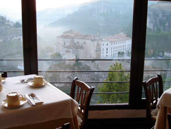 View from breakfast room in Cuenca, Spaiin.