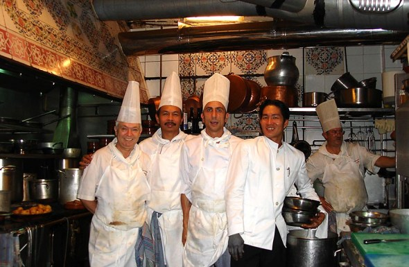 Chefs at the oldest restaurant - Botín - in Madrid, Spain.