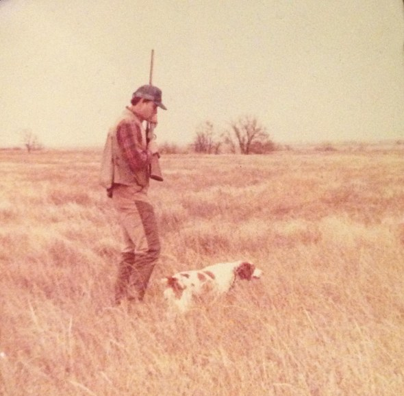 My husband, when he was young, hunting with his bird dog Penny, in Kansas