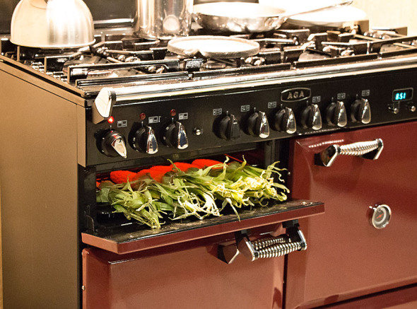 Richard's beloved Aga, in which he's grilling corn on the cob