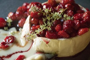 Baked Goat Brie with Roasted Cherries