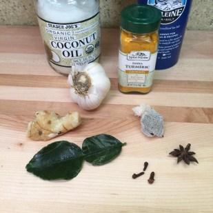 Galangal and kaffir lime leaves bottom left