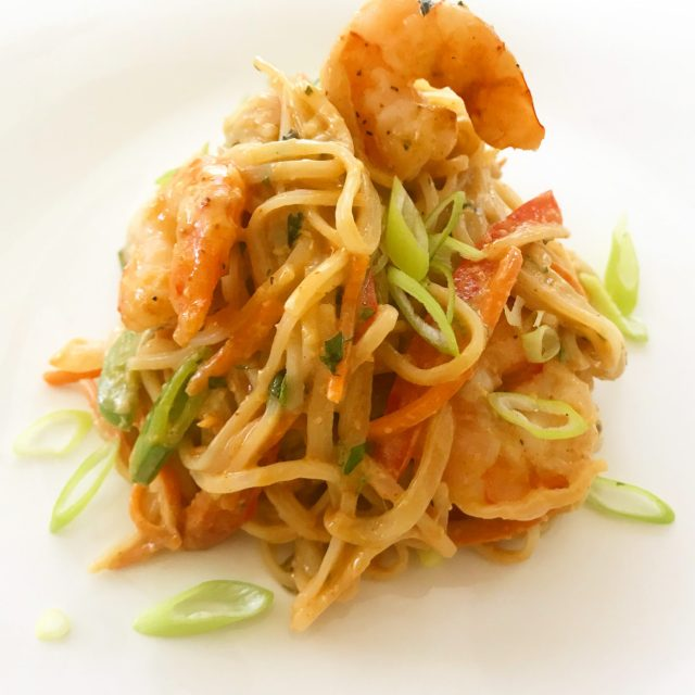 Thai Peanut Noodles with Shrimp