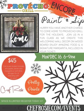 provecho grill december encore event, paint and sip