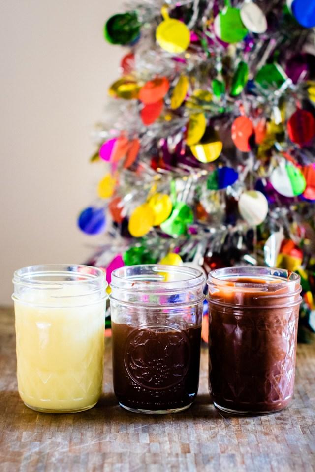 three jars of ganache