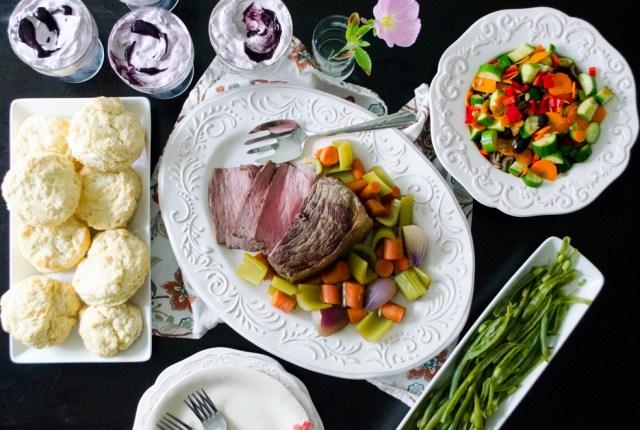A Fine Dessert family dinner menu from ChefSarahElizabeth.com