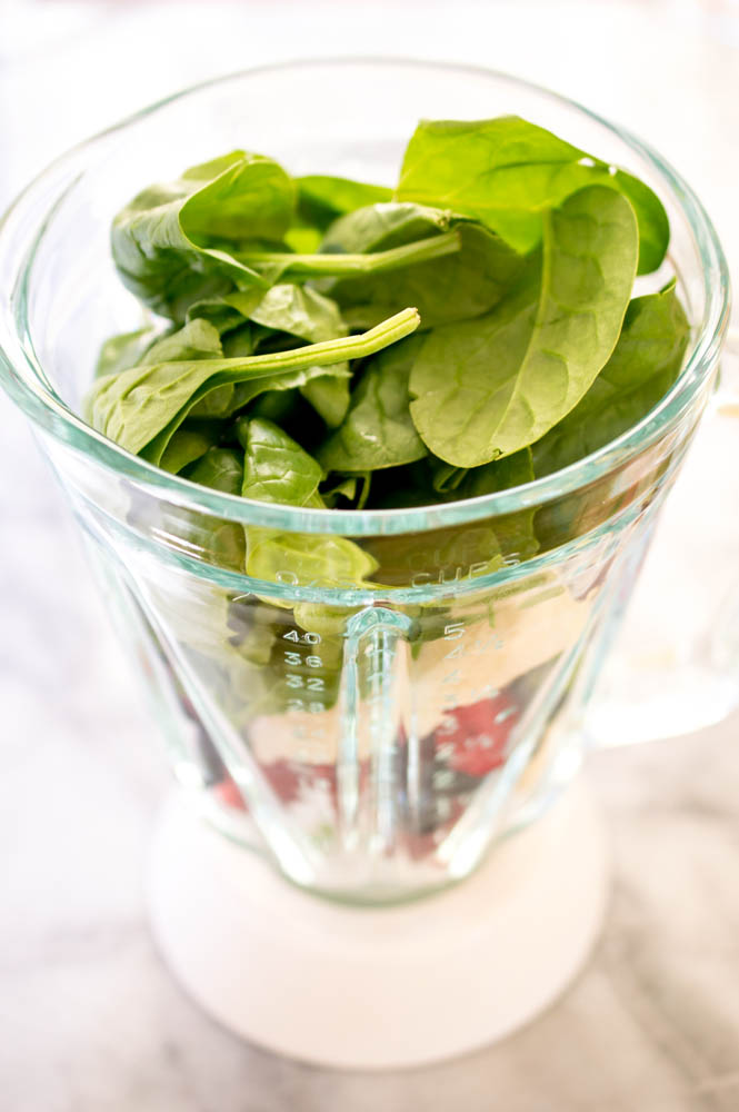 ingredients for Berry Spinach Smoothie