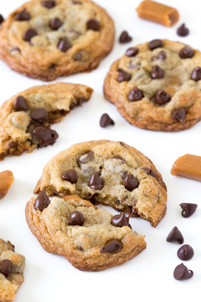 Caramel Stuffed Chocolate Chip Cookies | chefsavvy.com
