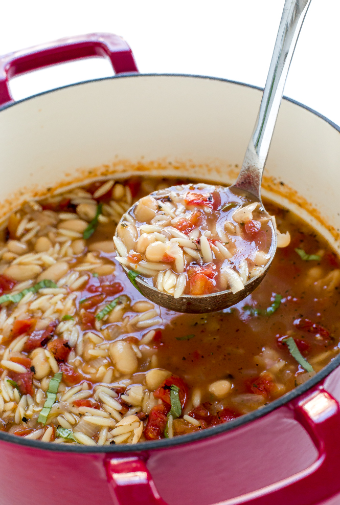 Easy Italian Ham and White Bean Orzo Soup | chefsavvy.com