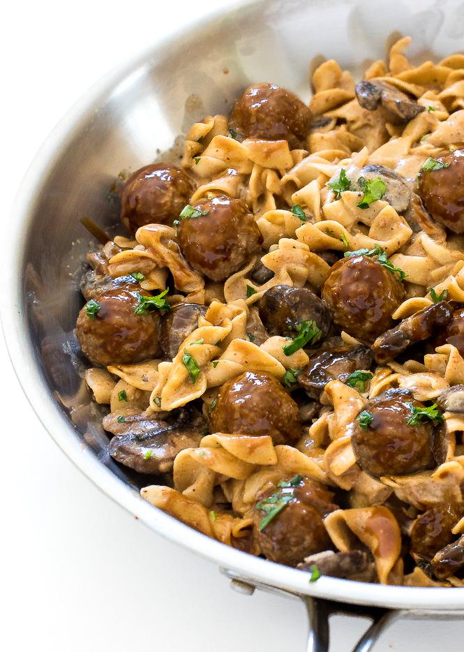 One Pan Meatball Stroganoff | chefsavvy.com