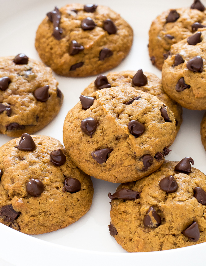 Pumpkin chocolate chip cookies on white plate