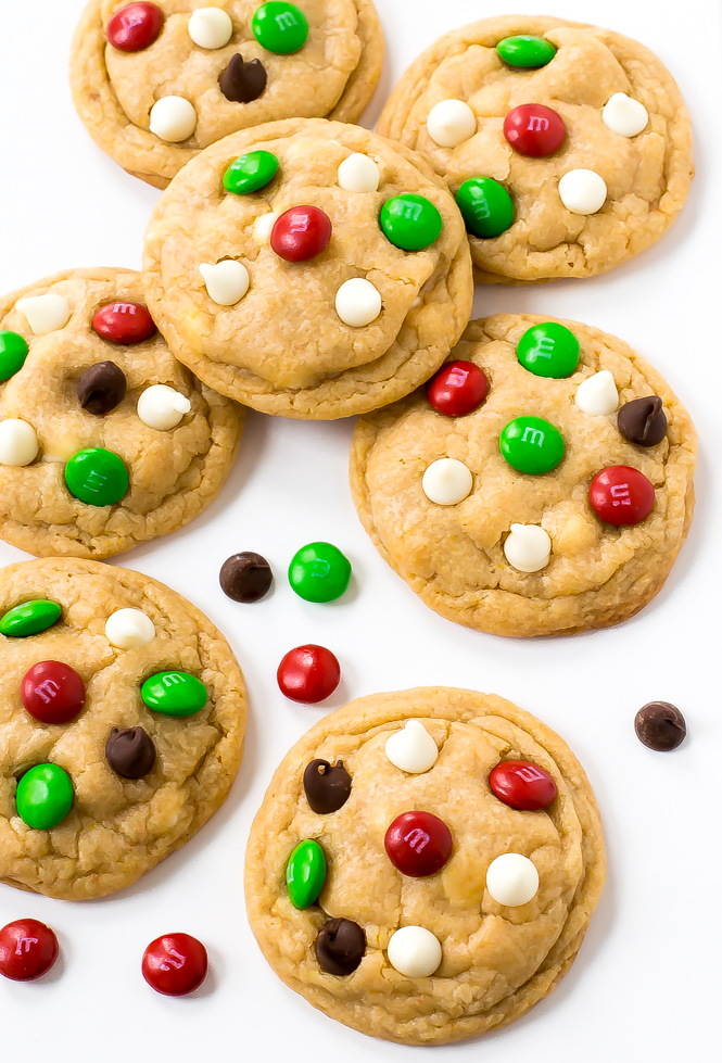 chocolate chip christmas cookies with red and green m&ms