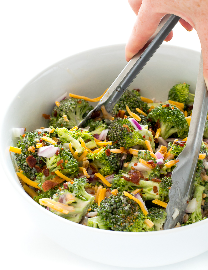 Broccoli Salad with Bacon | chefsavvy.com