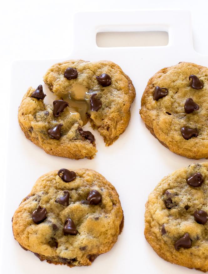 Dulce de leche stuffed Chocolate Chip Cookies   chefsavvy.com