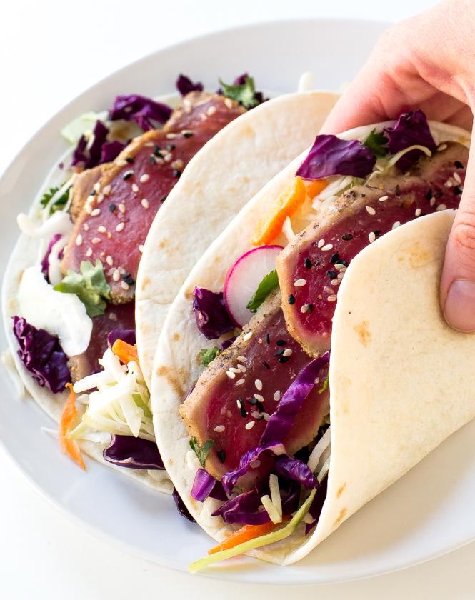 Easy Seared Ahi Tuna Tacos | chefsavvy.com