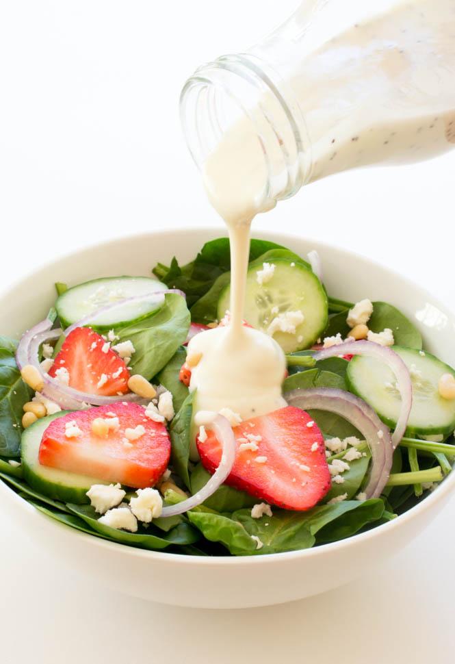Strawberry Feta Spinach Salad with Creamy Poppyseed Dressing | chefsavvy.com #recipe #healthy #salad #poppyseed #yogurt #dressing