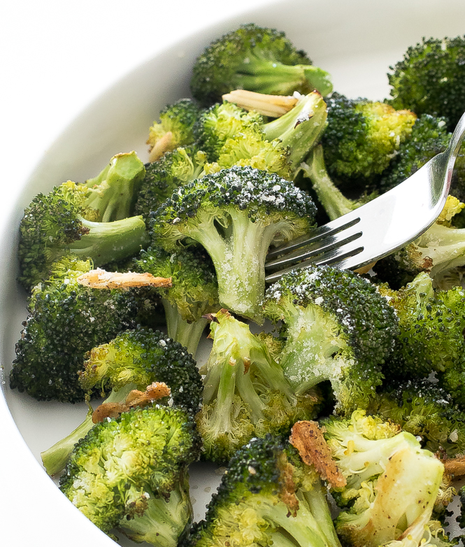 Broccoli with sliced garlic and cheese | chefsavvy.com