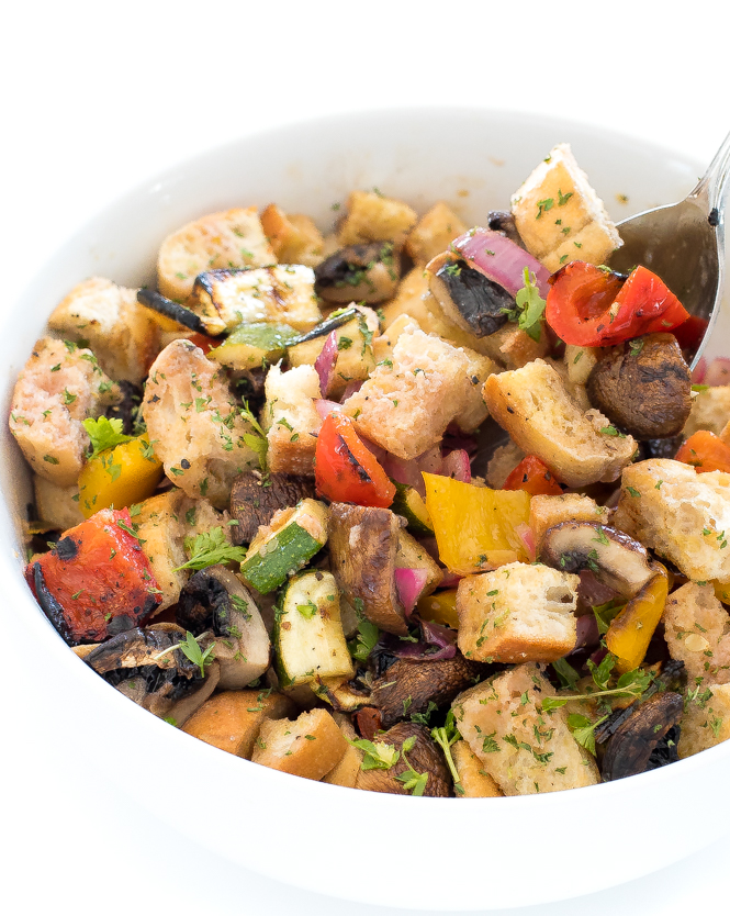 Panzanella salad with grilled vegetables in serving bowl