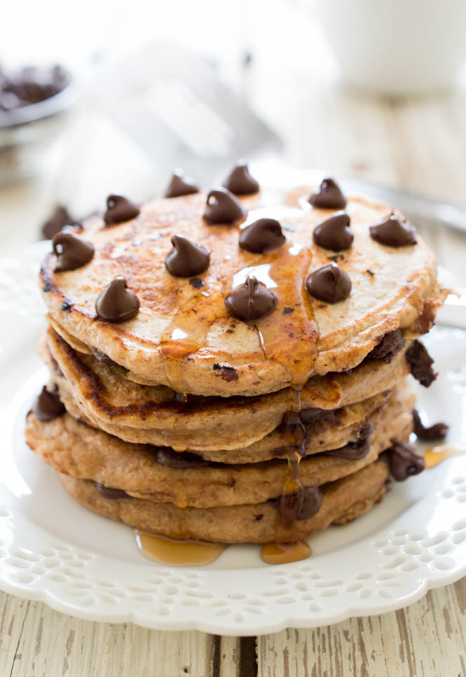 Healthy Whole Wheat Chocolate Chip Pancakes | chefsavvy.com