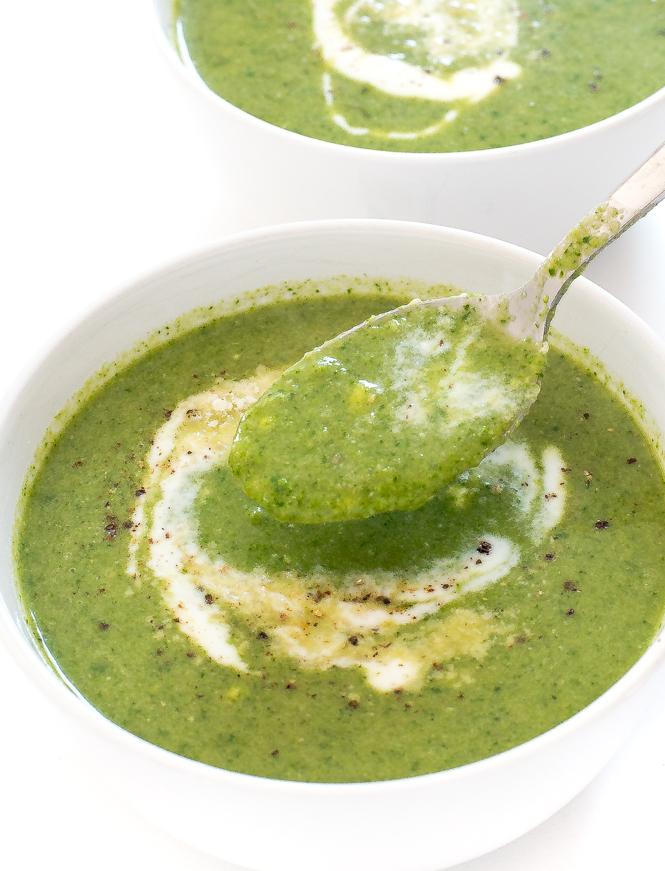 How To Make Creamy Broccoli Spinach Soup | chefasvvy.com