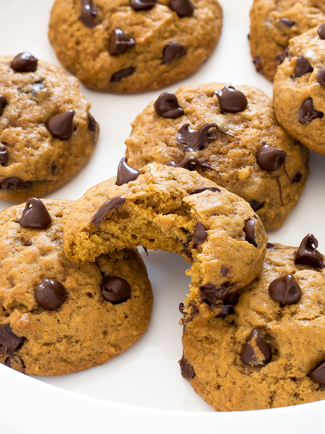 Pumpkin Chocolate Chip Cookies on a white serving tray
