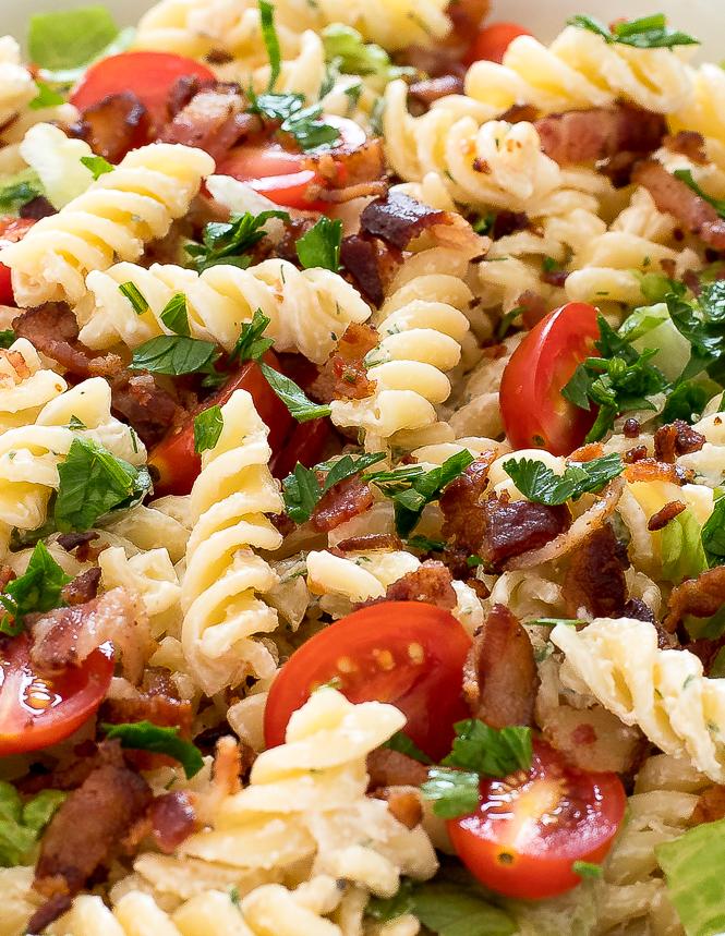 BLT Pasta Salad Recipe | chefsavvy.com