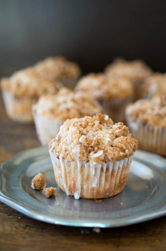Sour Cream Coffee Cake Streusel Muffins | chefsavvy.com #recipe #breakfast #muffins #cake