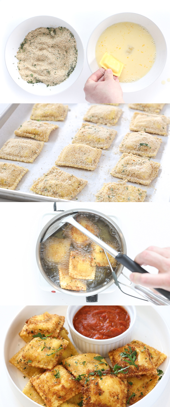 Step by step pictures of toasted raviolis | chefsavvy.com