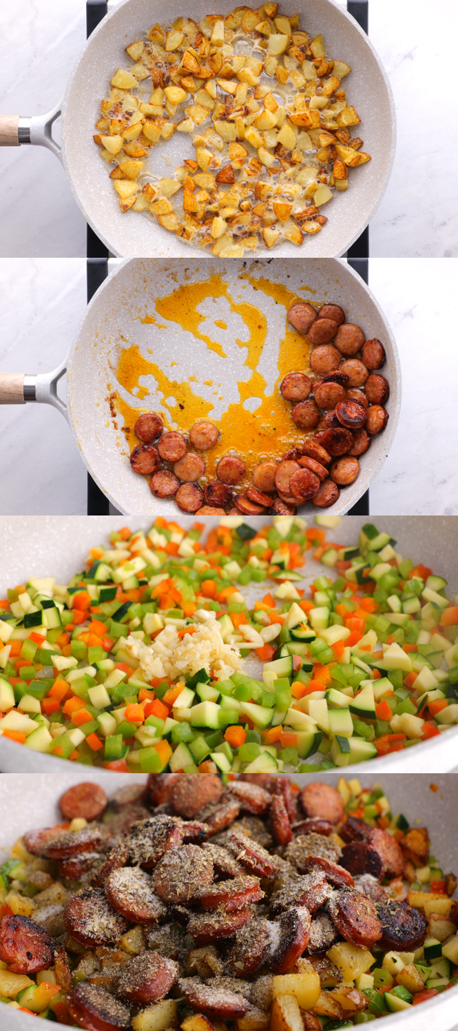 Step by Step Pictures of One Pan Sausage and Vegetable Skillet