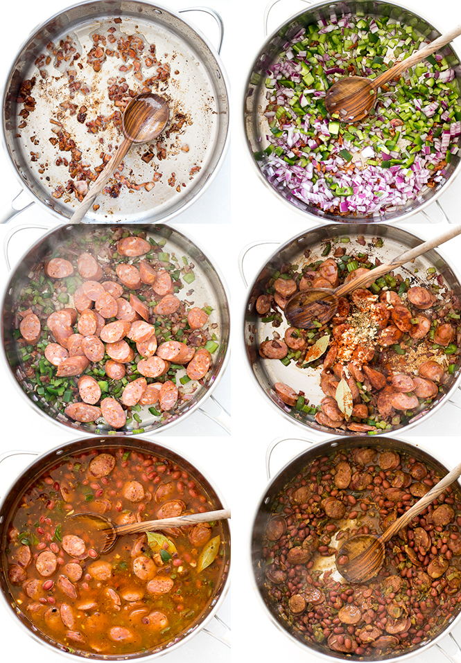Process shots of Red Beans and Rice Recipe | chefsavvy.com