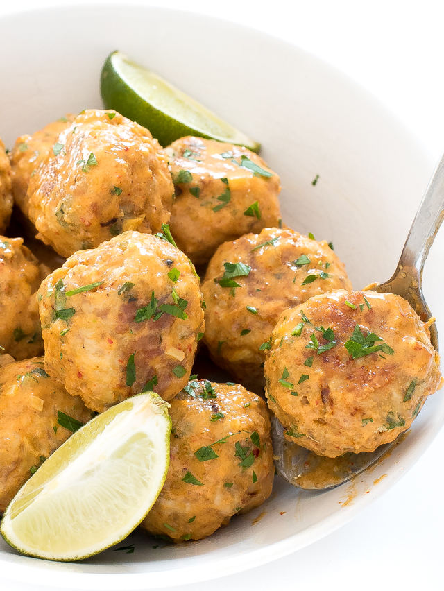 Thai Red Curry Chicken Meatballs in white bowl