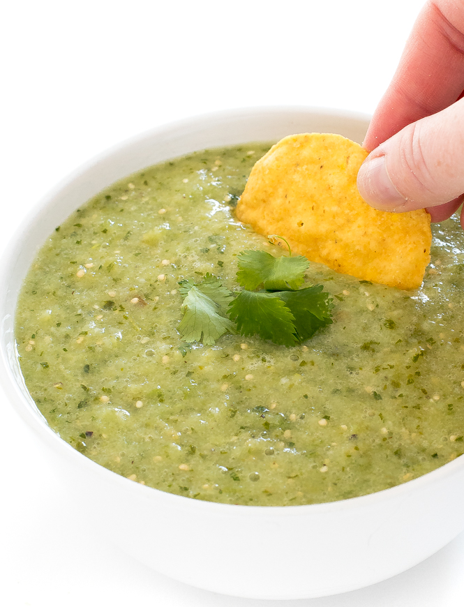 Authentic Salsa Verde Recipe in white bowl with tortilla chip