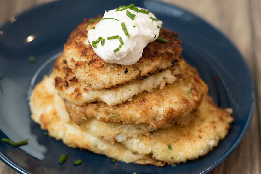 Potato pancakes are easy to make with Chef Shamy's Parmesan Basil Garlic Butter.