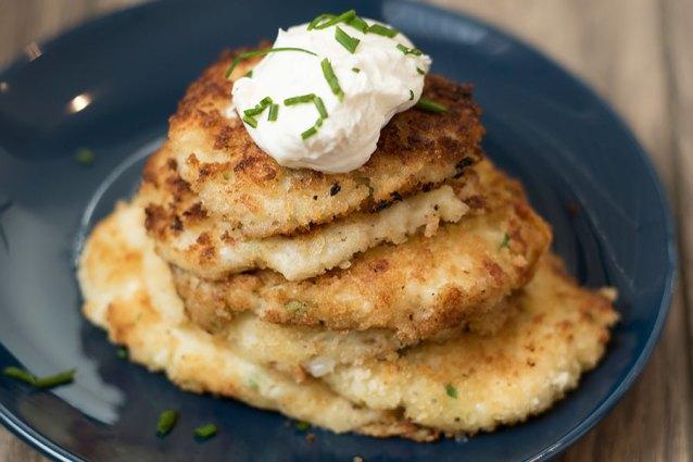 Parmesan Garlic Leftover Potato Pancakes