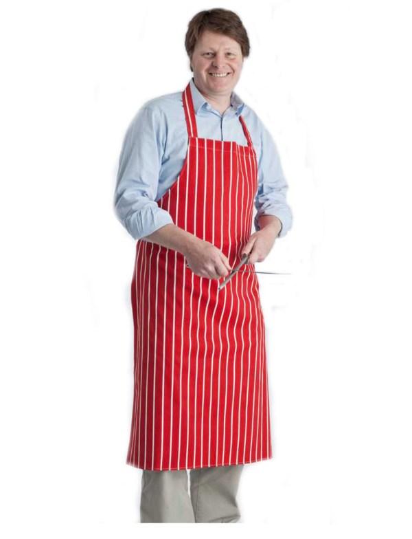 Butchers Stripe Cotton Apron in Red/White