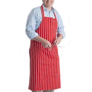 Butchers Stripe Cotton Apron in Red/White
