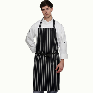 Le Chef Butchers Stripe Bib Apron without pocket.
