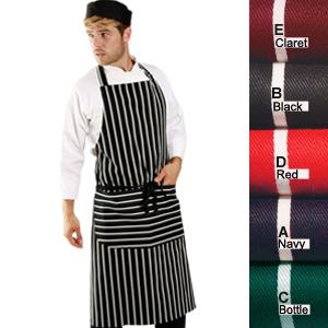 Denny's Butchers Stripe Bib Apron with Pocket