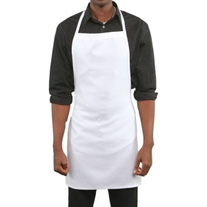 White 100% Cotton Bib Apron (no pocket)