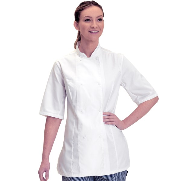 Dennys Ladies Fitted Chef Jacket with Short Sleeves