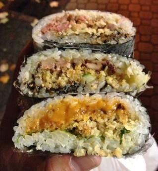 Foie gras, wagyu and uni sushi pockets by Sada