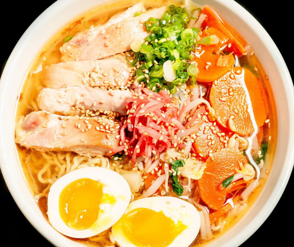 Ramen with noodles and broth from scratch