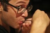 a guest munching an hors d'oeurve