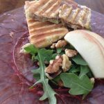 I cut the sandwich into 4 squares and served with a little apple and arugula salad