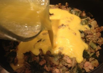 Frittata with escarole and chicken sausage