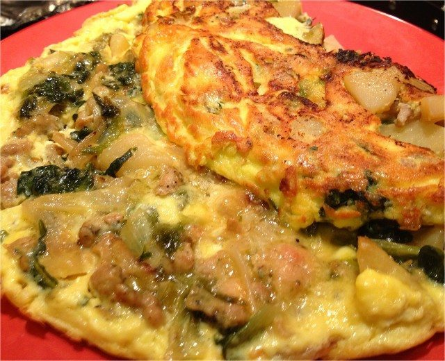 Frittata with Escarole, Potatoes and Chicken Sausage
