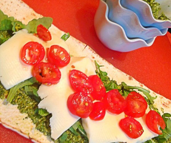Mozzarella Caprese Arugula with Walnut Pesto Wrap