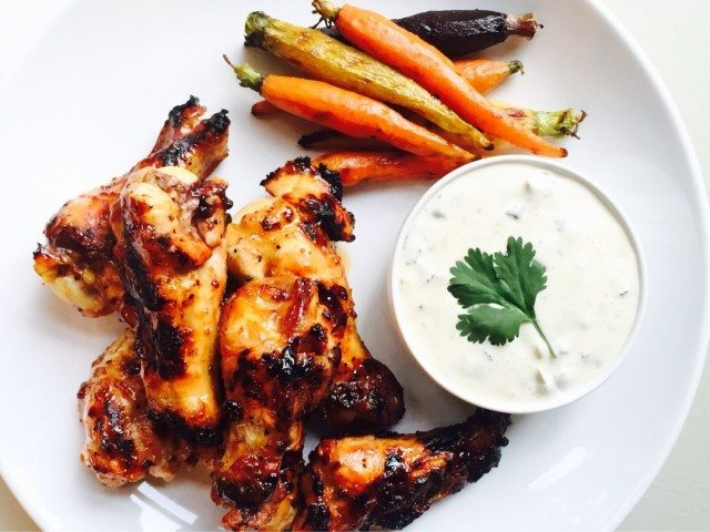 Grilled Tamarind and Honey Drumettes with Baby Rainbow Carrots and Jalapeno Cilantro Ranch