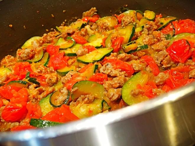 Zucchini, tomato and sausage saute