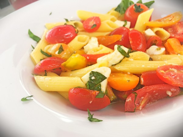 Gluten Free Penne Caprese with True Rebel Tomatoes